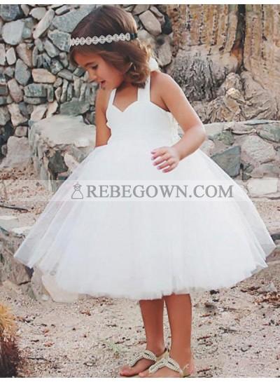 2020 Sleeveless A-Line/Princess Halter Tea-Length Ruffles Tulle First Holy Communion Dresses / Flower Girl Gowns