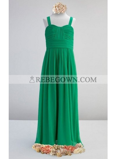 Young Bridesmaid Dresses / Gowns A Line Sweetheart Chiffon With Ruffle Green