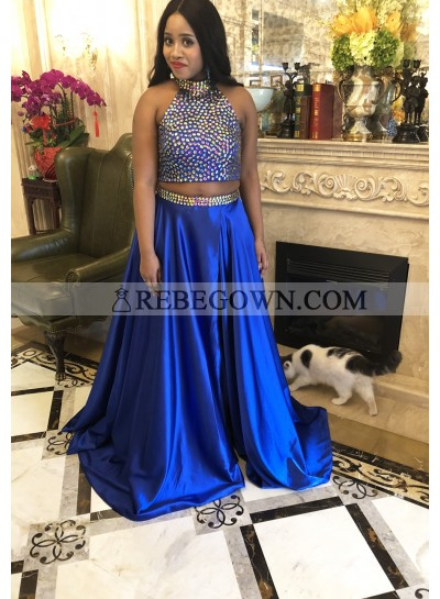 2020 Ball Gown Two Piece Prom Dresses Royal Blue Queen