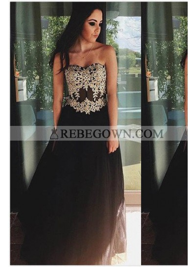 Appliques Sweetheart Satin Prom Dresses 2020 Junoesque Black