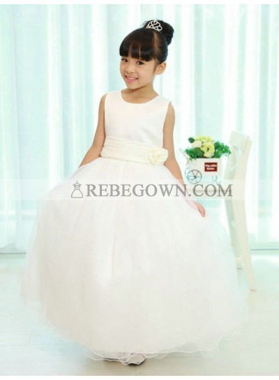 2020 A-line/Princess Scoop Sleeveless Sash/Ribbon/Belt Long Organza First Holy Communion Dresses / Flower Girl Gowns