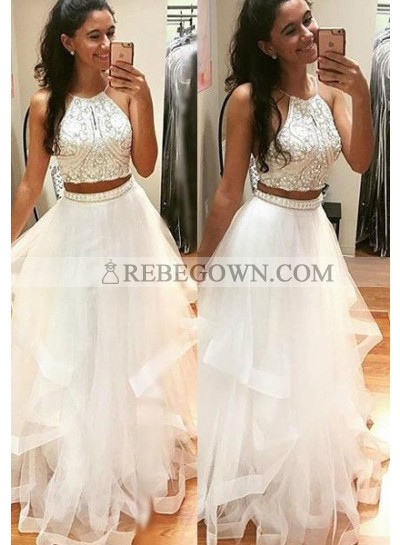 2021 Unique White Beading A-Line Tulle Two Pieces Prom Dresses