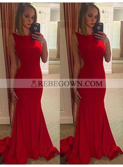 2020 Gorgeous Red Chapel Train Mermaid Stretch Satin Prom Dresses