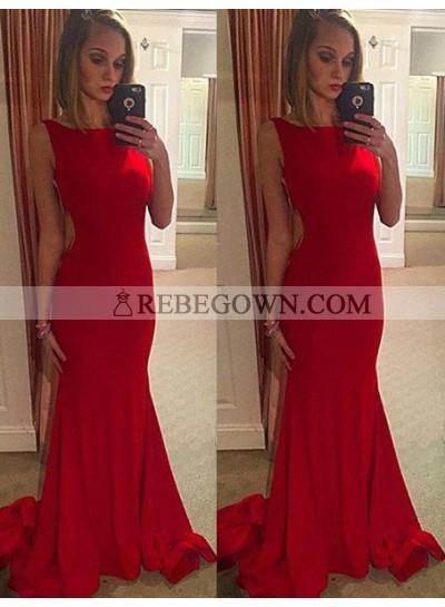2021 Gorgeous Red Chapel Train Mermaid Stretch Satin Prom Dresses