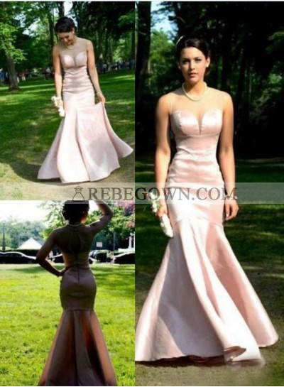 2021 Glamorous Pink Sheer Neck Mermaid Satin Prom Dresses