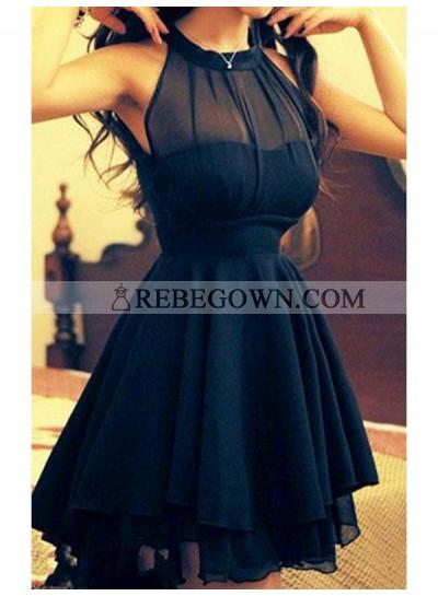 A-Line Princess Jewel Sleeveless Chiffon Short Homecoming Dresses