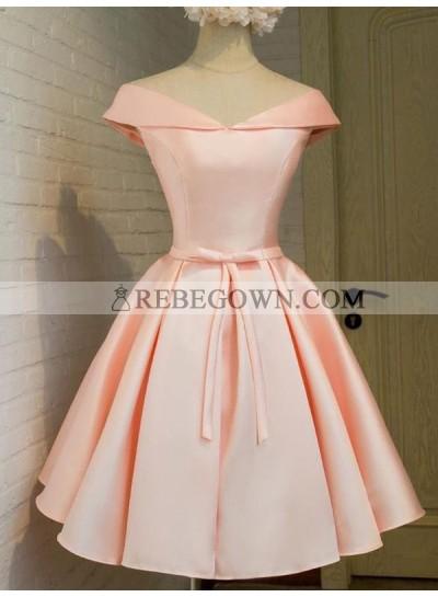 A-Line Princess V-neck Sleeveless Sash Satin Short Homecoming Dresses