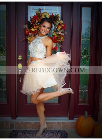 A-Line Princess Scoop Beading Sleeveless Short Tulle Two Piece Homecoming Dresses