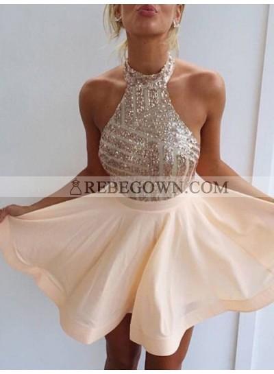 A-Line Princess Sleeveless Halter Beading Satin Short Homecoming Dresses