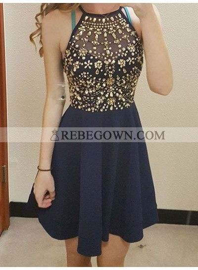 A-Line Princess Sleeveless Scoop Beading Chiffon Short Homecoming Dresses
