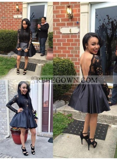 A-Line Princess Sleeveless Scoop Lace Satin Short Homecoming Dresses