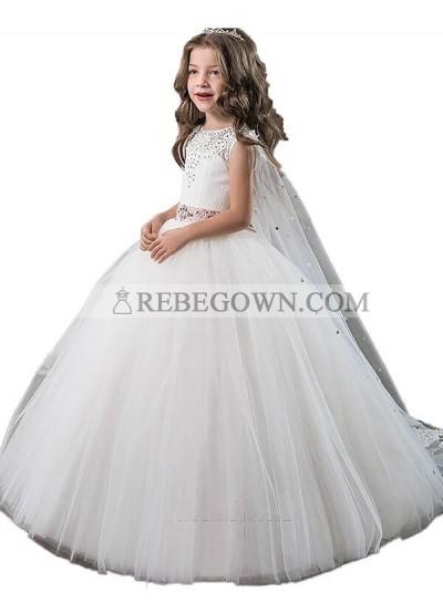 2020 Ball Gown Jewel Sleeveless Beading Floor-Length Tulle First Holy Communion Dresses / Flower Girl Gowns