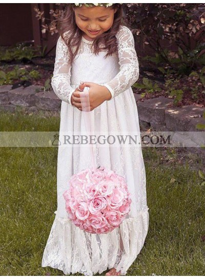 2020 A-Line/Princess Long Sleeves Jewel Bowknot Lace Floor-Length First Holy Communion Dresses / Flower Girl Gowns