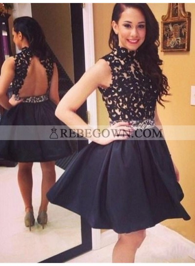 A-Line Princess Sleeveless High Neck Taffeta Lace Short Homecoming Dresses
