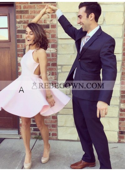 A-Line Princess Halter Sleeveless Short Satin Homecoming Dresses