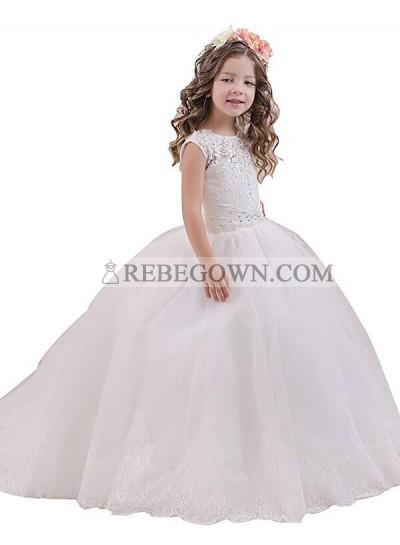 2020 Ball Gown Sleeveless Scoop Floor-Length Tulle First Holy Communion Dresses / Flower Girl Gowns