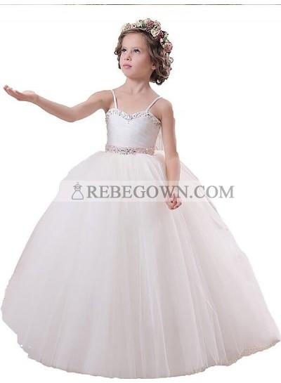 2020 Ball Gown Sleeveless Spaghetti Straps Sash/Ribbon/Belt Floor-Length Tulle First Holy Communion Dresses / Flower Girl Gowns