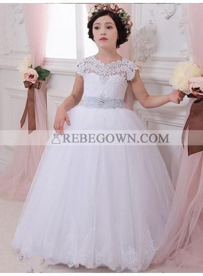 2020 Ball Gown Sleeveless Scoop Sash/Ribbon/Belt Floor-Length Tulle First Holy Communion Dresses / Flower Girl Gowns