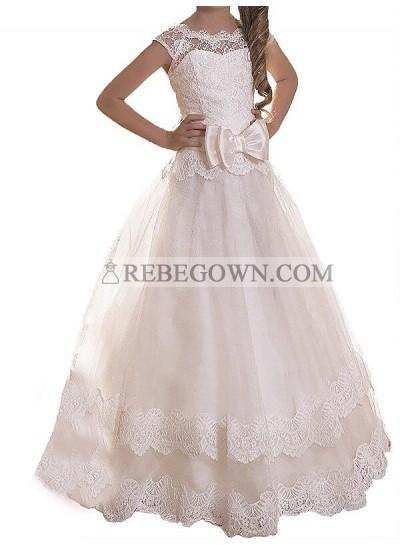 2020 A-line/Princess Scoop Sleeveless Sash/Ribbon/Belt Tulle Floor-Length First Holy Communion Dresses / Flower Girl Gowns