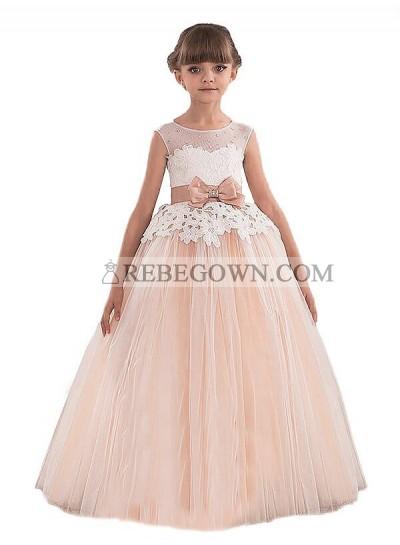 2020 Ball Gown Scoop Sleeveless Sash/Ribbon/Belt Tulle Floor-Length First Holy Communion Dresses / Flower Girl Gowns