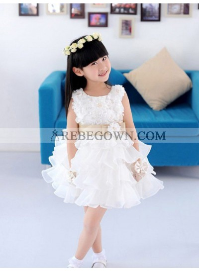 2020 A-line/Princess Scoop Sleeveless Hand-made Flower Short Organza First Holy Communion Dresses / Flower Girl Gowns