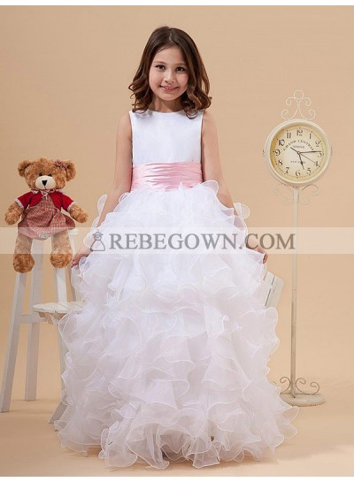 2020 A-line/Princess Scoop Bowknot Sleeveless Long Organza First Holy Communion Dresses / Flower Girl Gowns