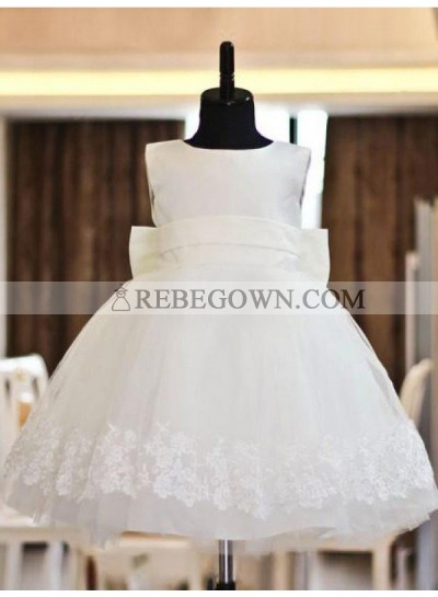 2020 A-line/Princess Scoop Lace Sleeveless Long Organza First Holy Communion Dresses / Flower Girl Gowns