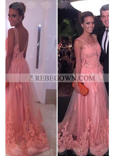 A-Line Pink 2020 Tulle With Appliques Prom Dresses