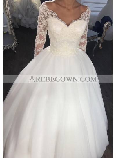 Satin Long Sleeves Sweetheart Ivory 2021 Ball Gown Wedding Dresses