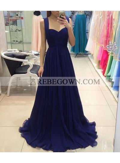 Cheap Chiffon Sweetheart Royal Blue A-Line 2020 Prom Dresses