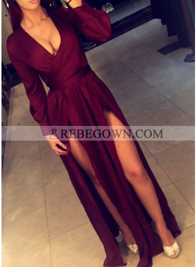 Sexy Burgundy Side Slit A-Line 2020 Long Sleeves Prom Dresses