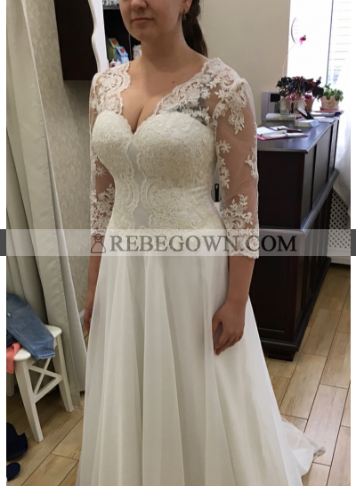 2021 Cheap A Line Long Sleeves Chiffon Wedding Dresses With Appliques