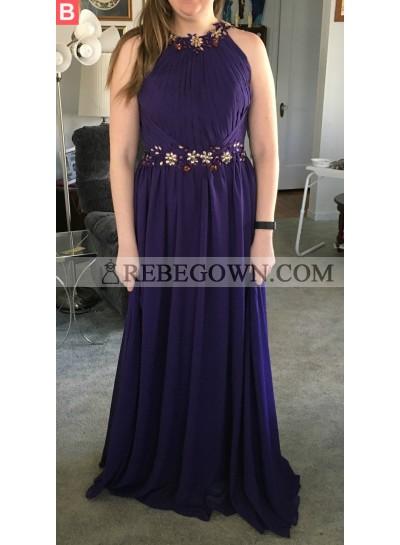 Cheap A-Line Chiffon Purple 2021 Prom Dresses