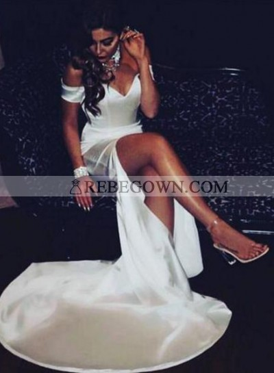 White Sheath Off The Shoulder Side Slit Sweetheart 2020 Prom Dresses