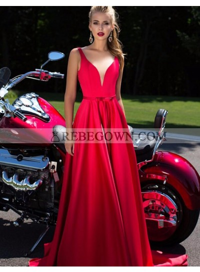 Elegant A-Line Satin Red Sweetheart 2021 Prom Dresses