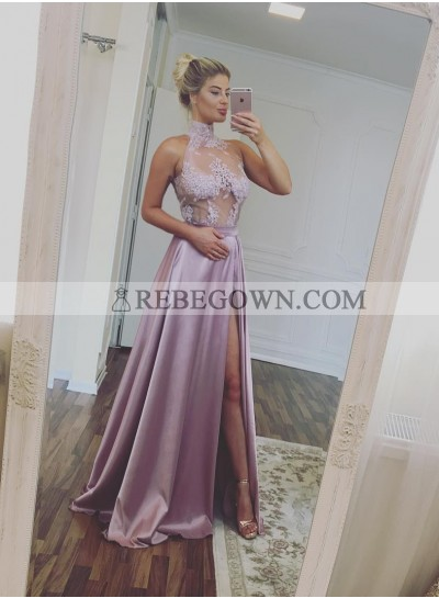 2021 Elegant A-Line Dusty Rose Satin Side Slit Prom Dresses