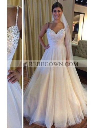 2021 Cheap A Line Tulle Spaghetti Straps With Beads Wedding Dresses