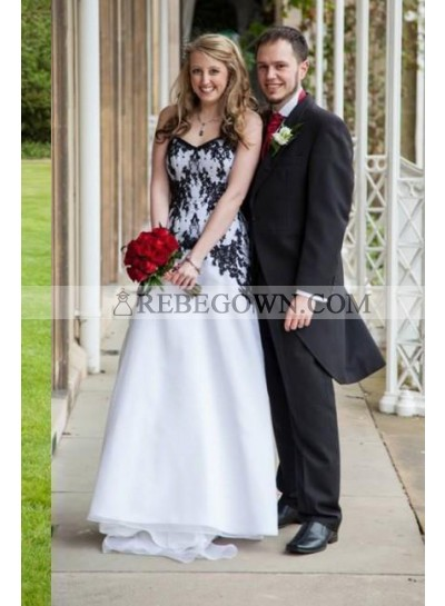 2021 A Line Organza White With Black Sweetheart Wedding Dresses