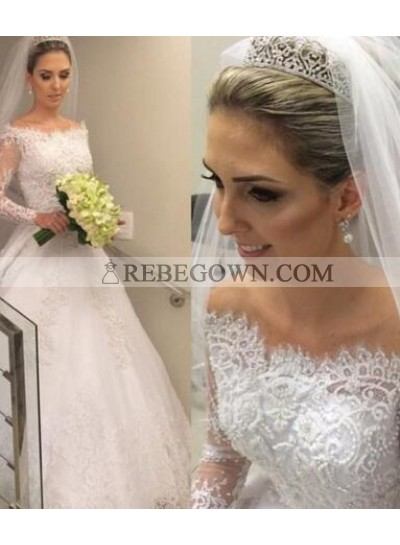 Pretty A Line 2021 Off The Shoulder Long Sleeves Lace Wedding Dresses