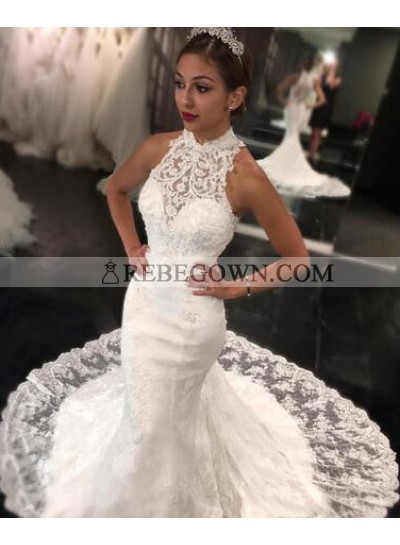 2021 New Mermaid  High Neck Sweep Train Lace Wedding Dresses