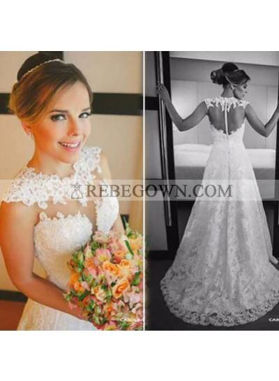 Elegant A Line Sweetheart Sweep Train 2021 Lace Wedding Dresses