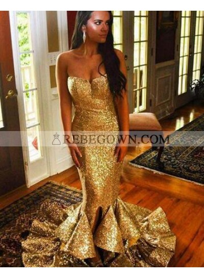 Gold Sequence Sweetheart Trumpet/Mermaid  2021 Prom Dresses