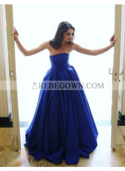 Elegant A-Line Satin Royal Blue Strapless 2021 Prom Dresses