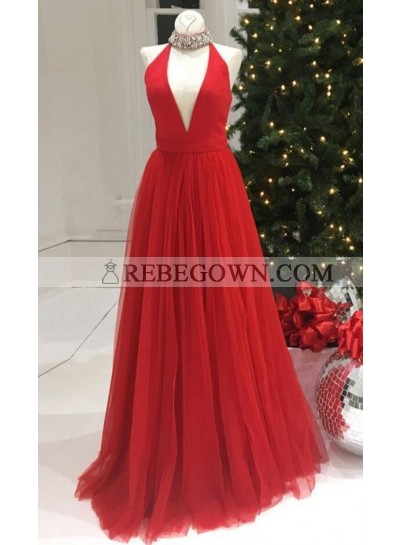 Newly A-Line V Neck Red Tulle 2021 Prom Dresses