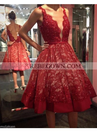 A-Line Short Red Lace 2021 Tea Length Prom Dresses