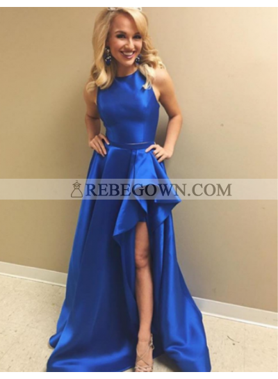 Cheap A-Line Satin Royal Blue Two Pieces 2021 Prom Dresses
