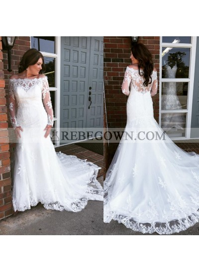 Sheath Off The Shoulder Long Sleeves Lace Wedding Dresses 2020
