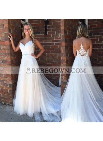 2021 Cheap Tulle A Line Sweetheart With Appliques Wedding Dresses