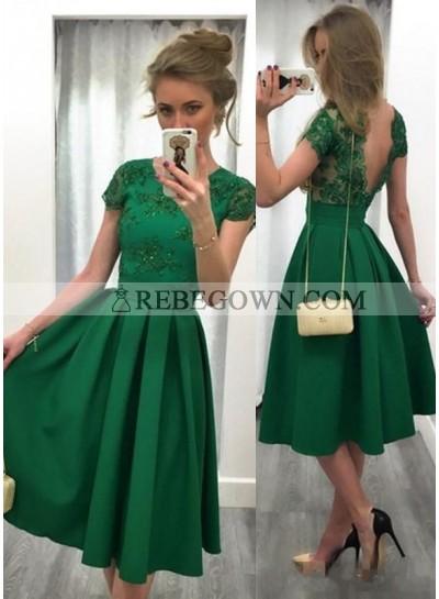 Cheap A-Line Emerald Satin Short Prom Dresses 2021