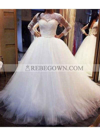 2021 Cheap A Line Long Sleeves Lace Tulle Wedding Dresses